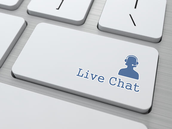 Live Chat Button on Modern Computer Keyboard. (v6)